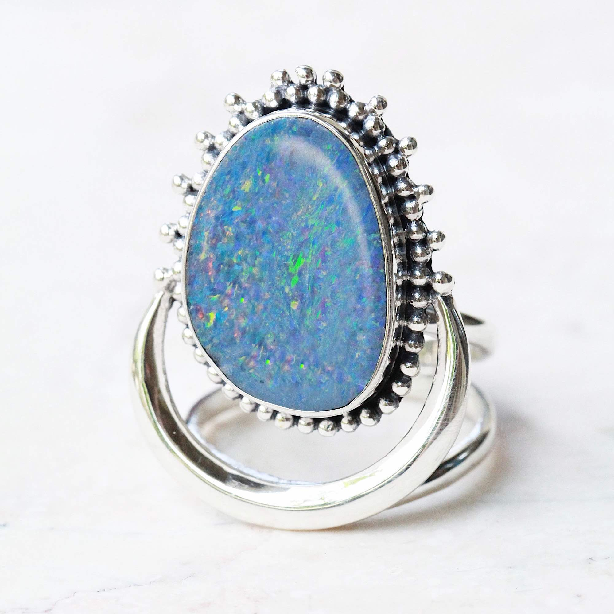 Blue Opal Ring in Sterling Silver