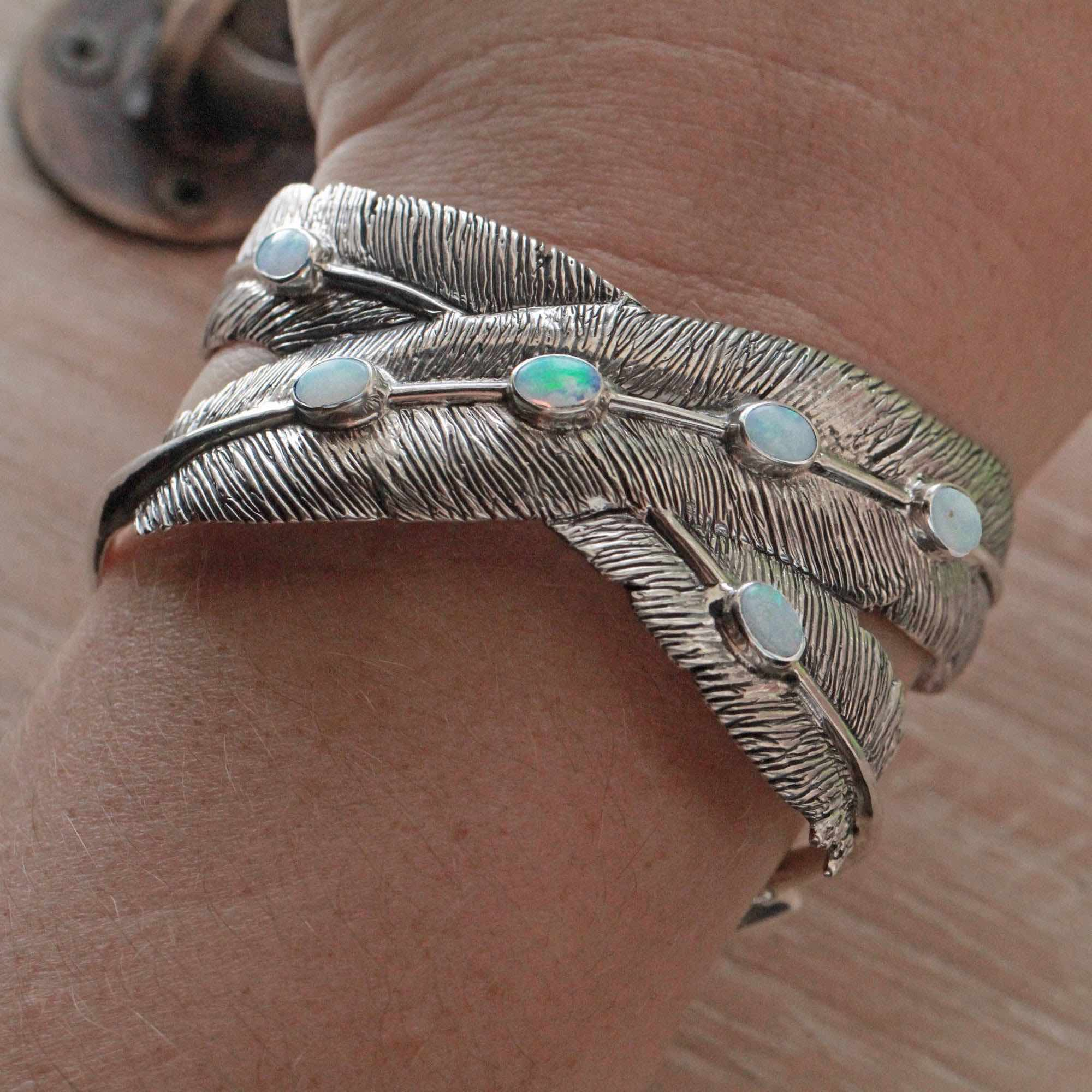 Solid White Opal Feather Cuff