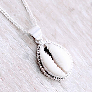 Cowrie Shell Sterling Silver Necklace