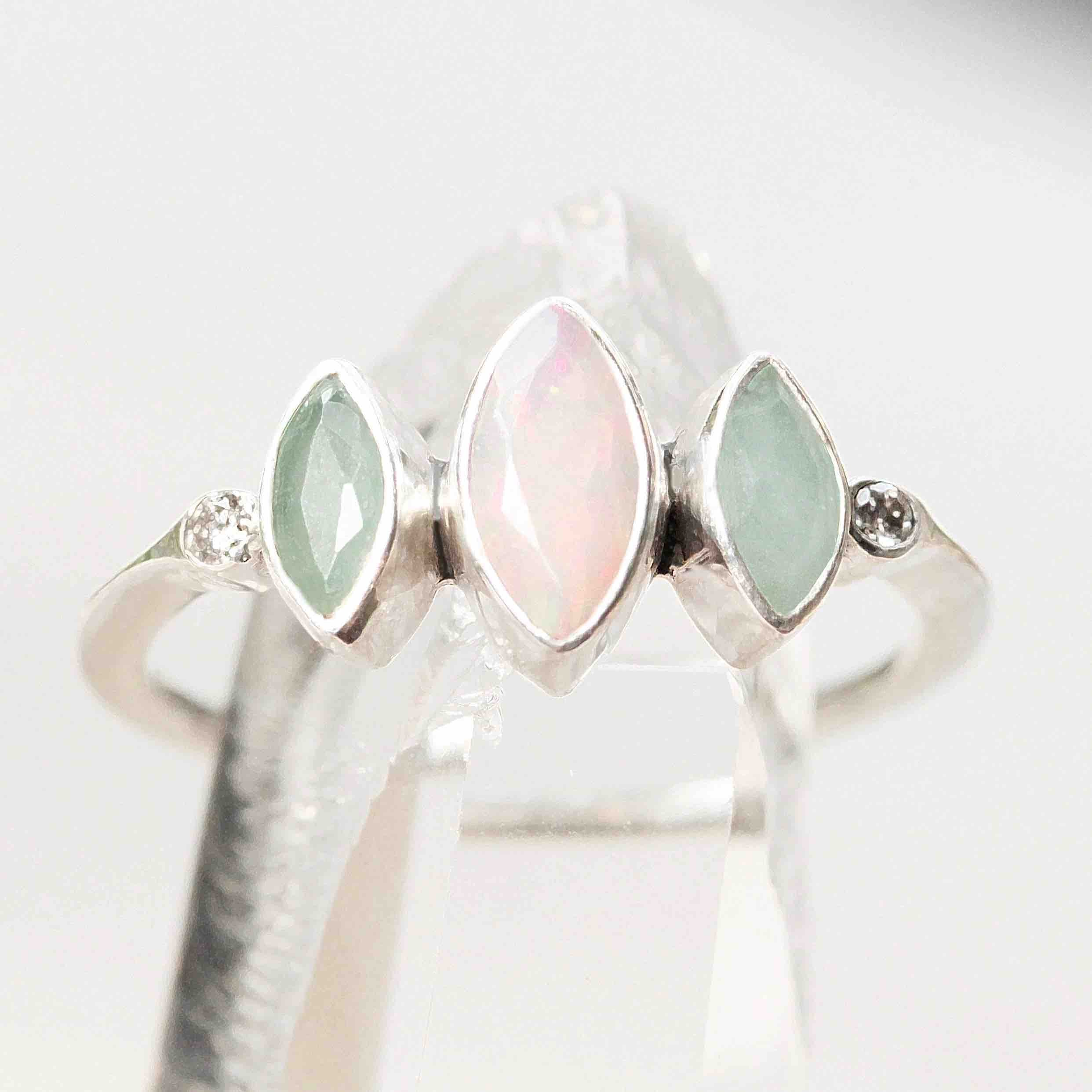 Raw Diamond and Fire Opal Engagement Ring