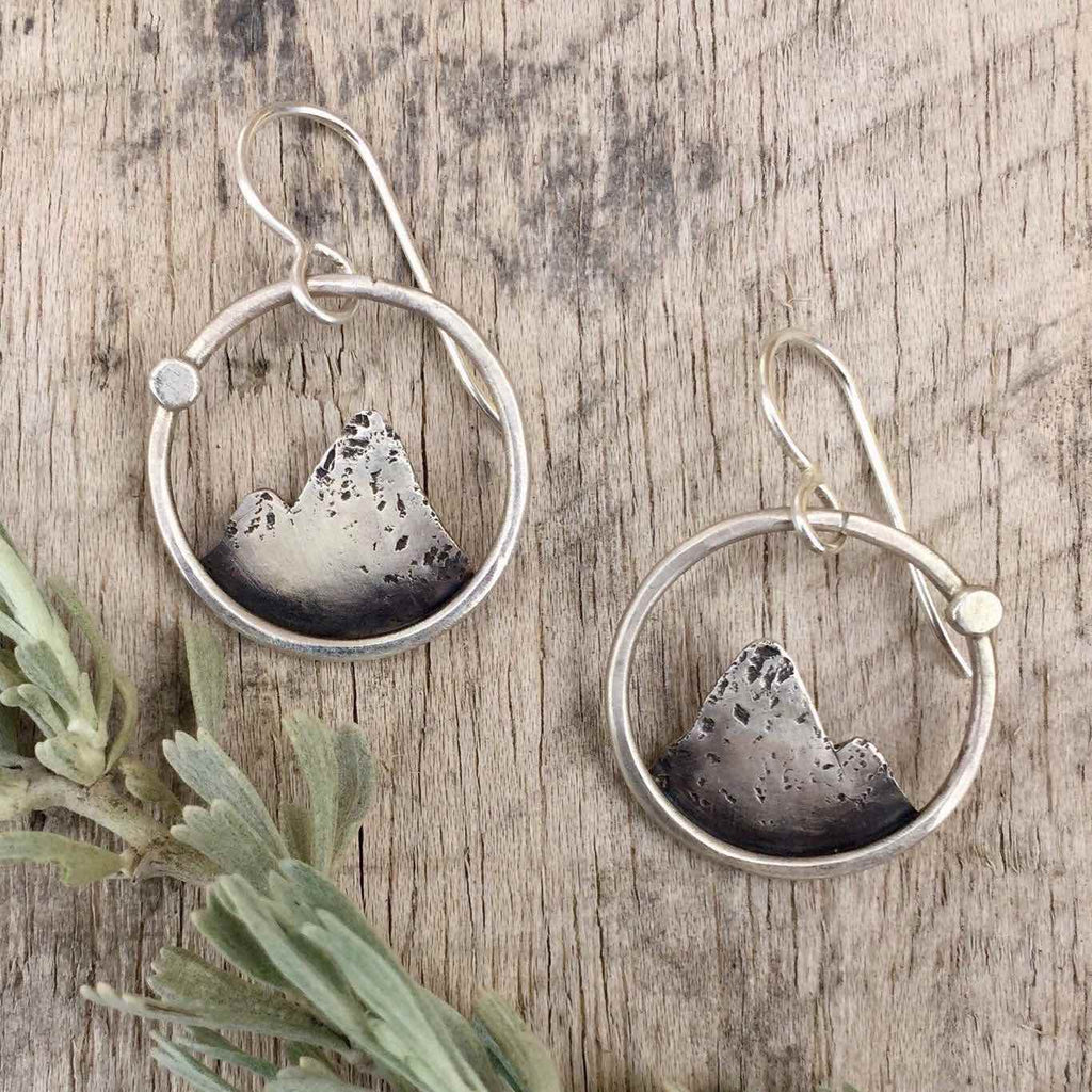 Lone Peak Mountain Earrings - Sterling Silver