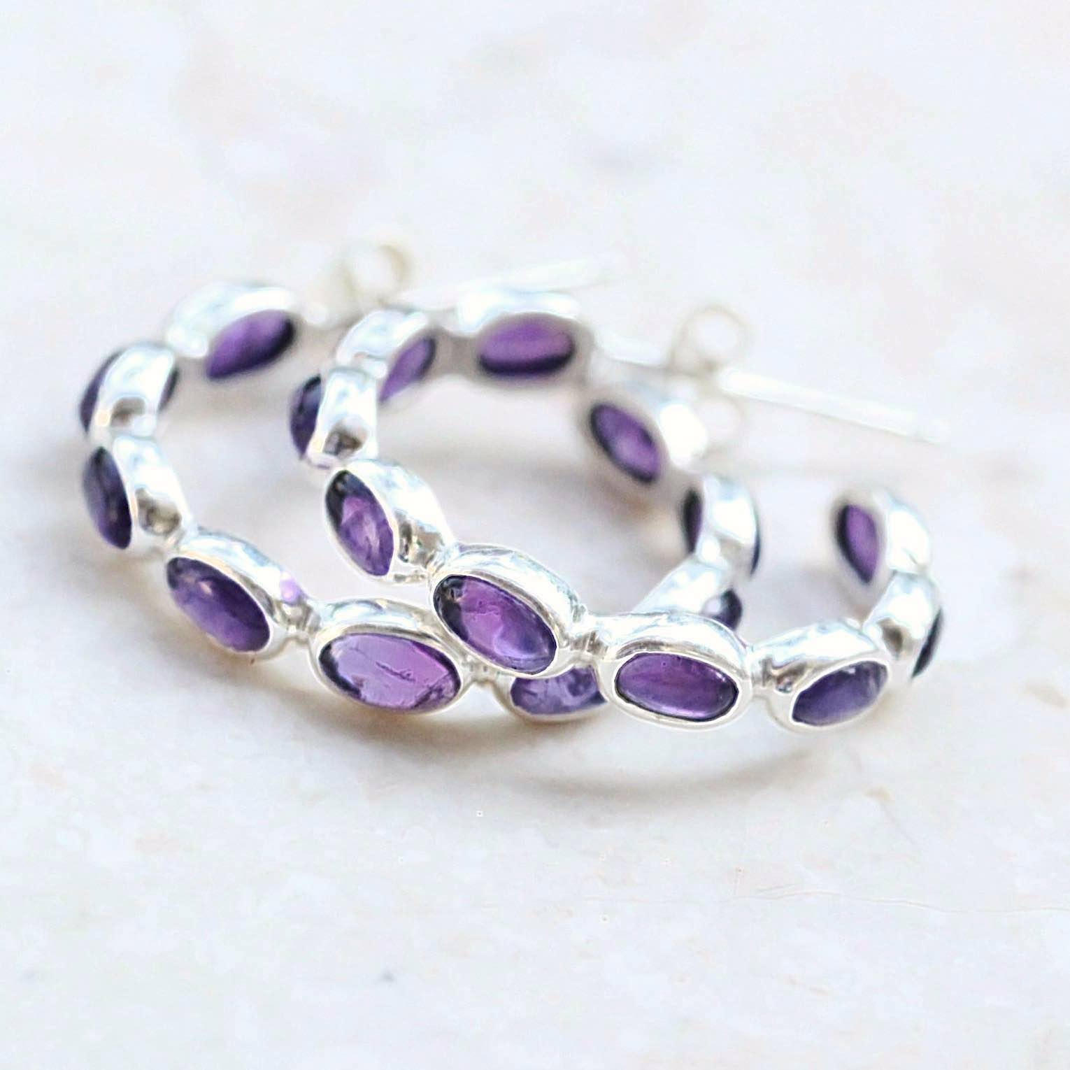 Amethyst Silver Hoop Earrings