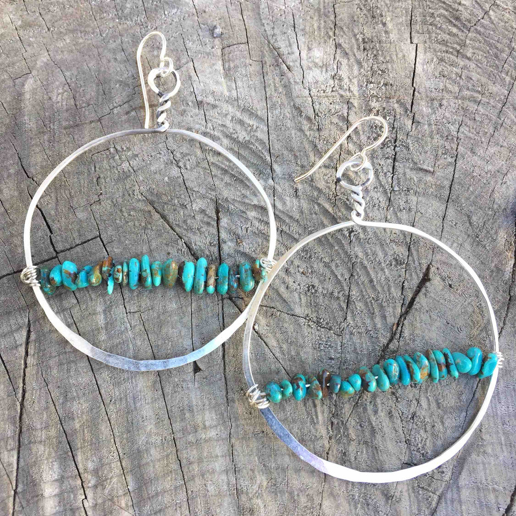 Turquoise Twine Beaded Hoop Earrings