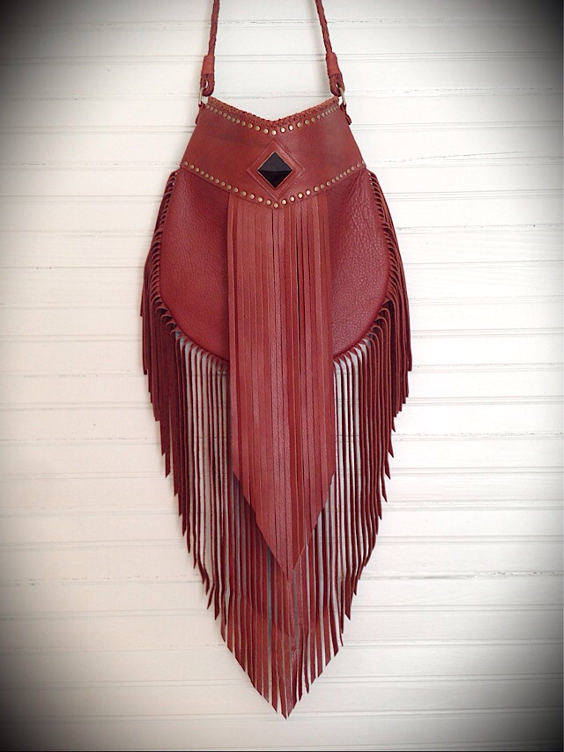 Aurora Leather Fringe Boho Bag