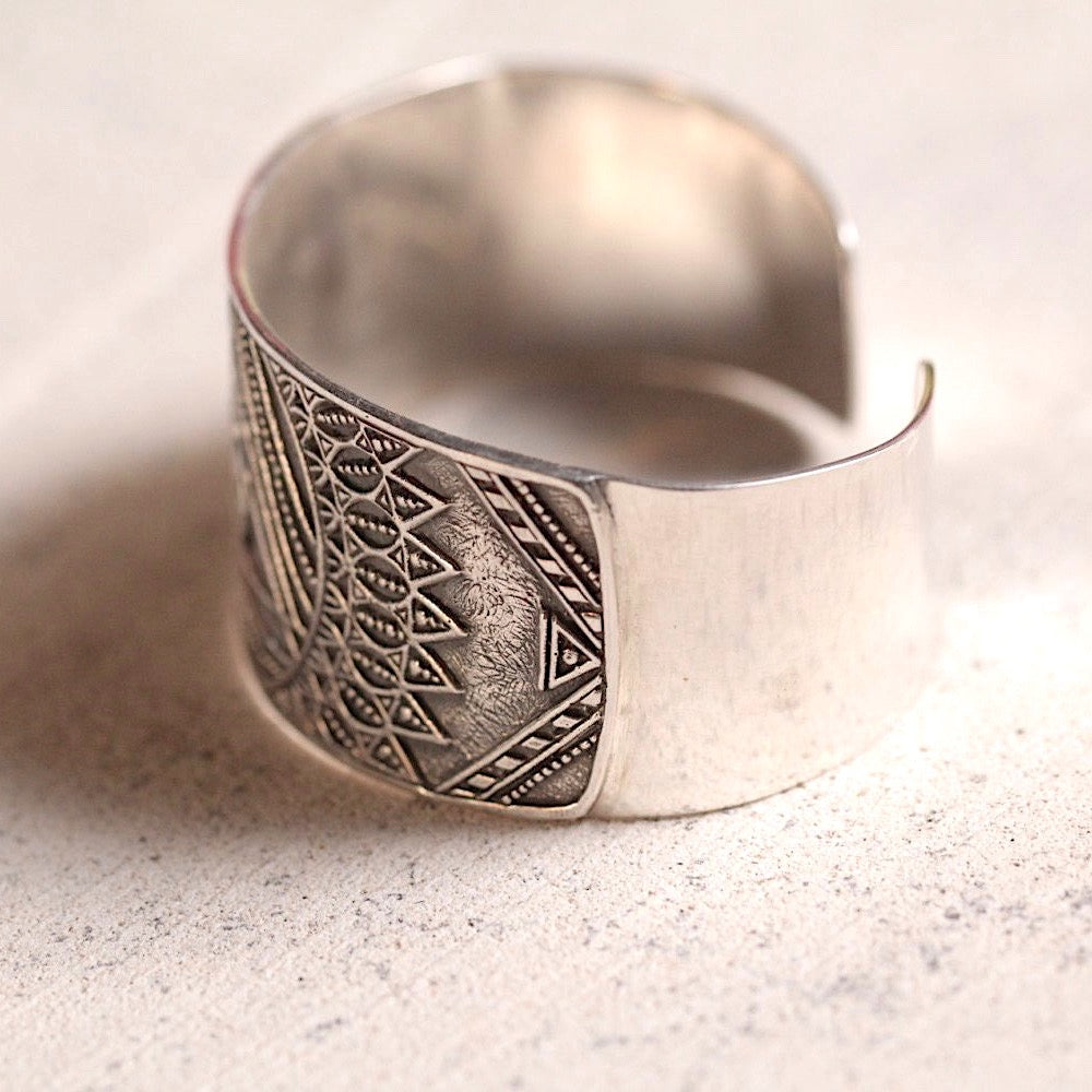 Thick Silver Tribal Cuff