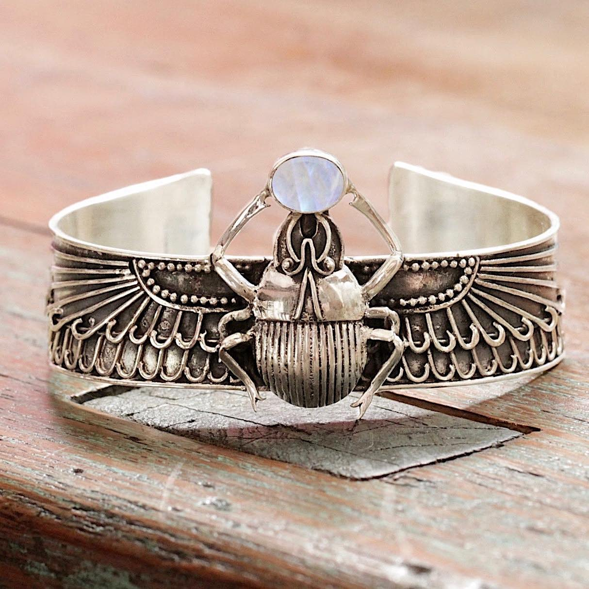 Scarab Cuff Bracelet with Moonstone