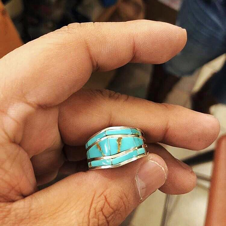 Zuni Turquoise Inlay cuff Ring