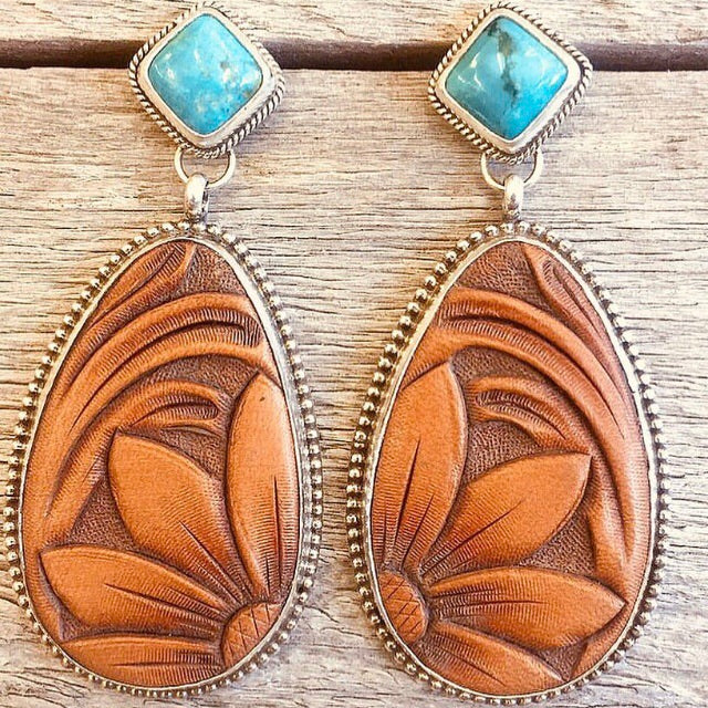 Hand Tooled Leather & Turquoise Earrings