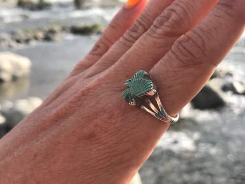 Hand Carved Eagle Turquoise Signed Black Hat Ring