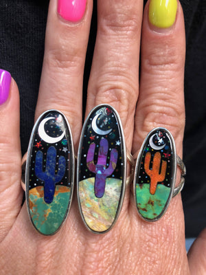 Cactus Moon Stone Turquoise Inlay Rings