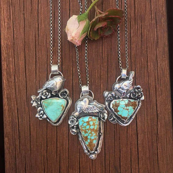 Free bird II and succulent Necklace, rustic, artisan, metalwork, handmade, boho, gypsy