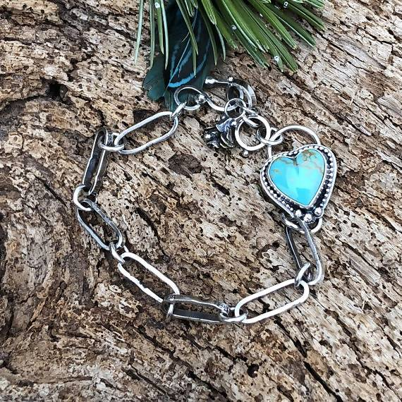 You have my Heart Turquoise and succulent hand stamped chain sterling silver bracelet