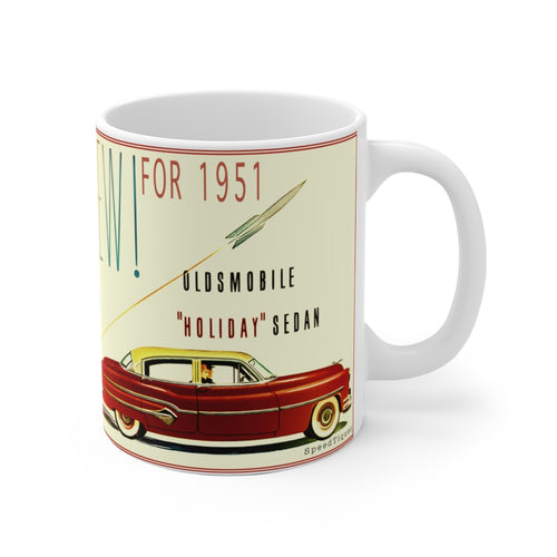 1951 Oldsmobile Rocket Holiday Sedan White Ceramic Mug