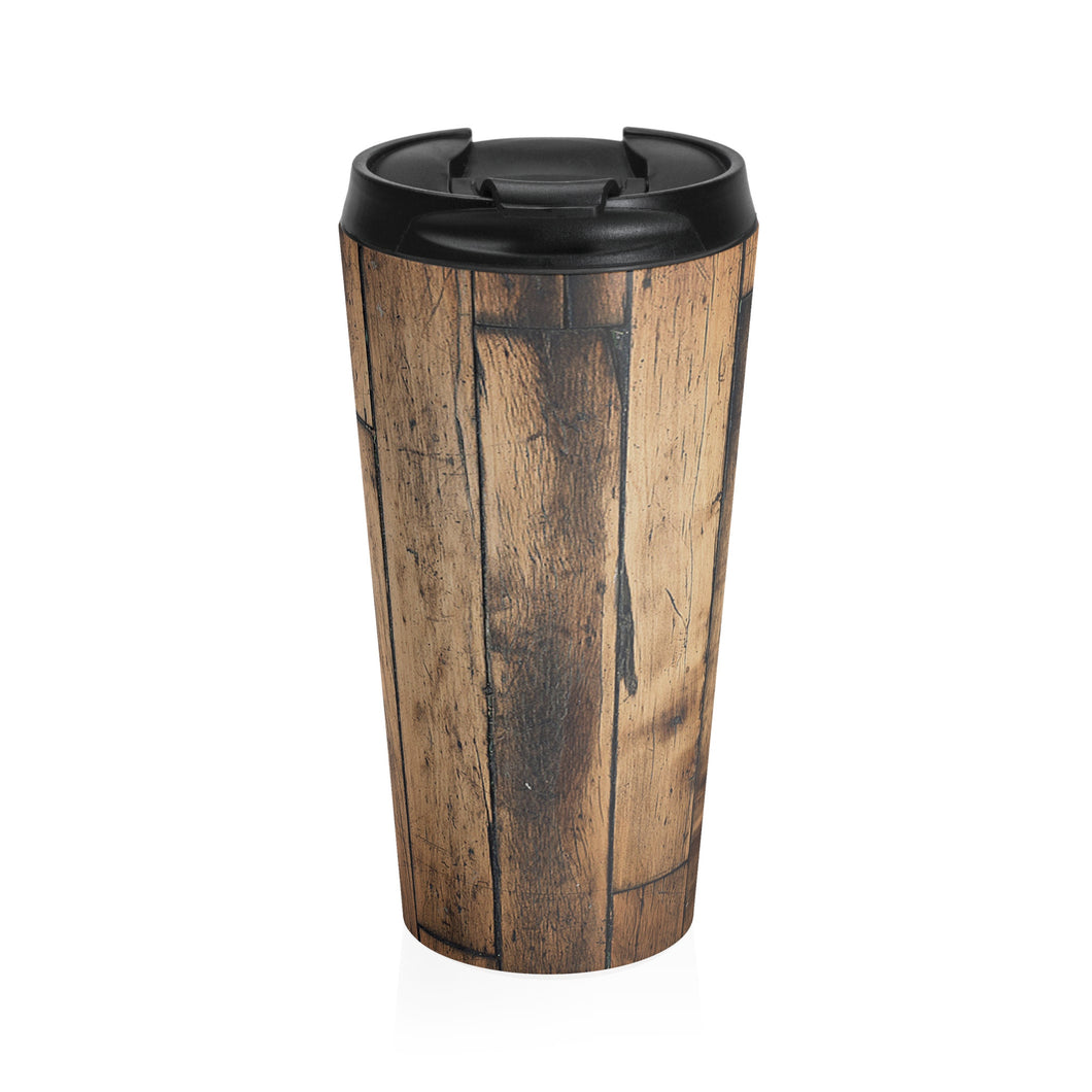 Dark Wood Stainless Steel Travel Mug
