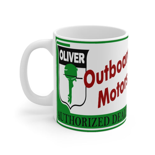 Oliver Outboard Motors White Ceramic Mug by Retro Boater