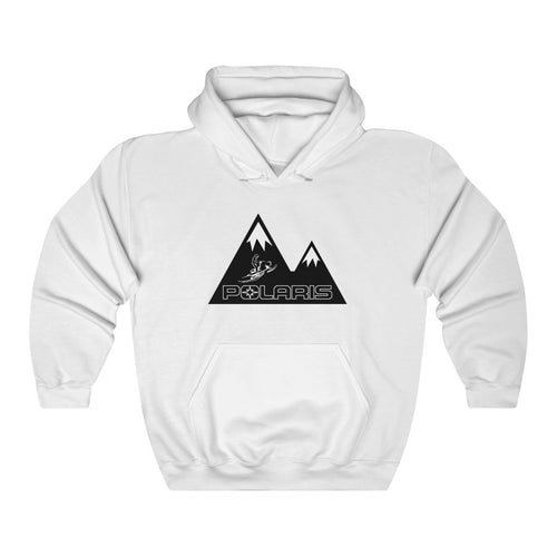Classic Polaris Snowmobile with Mountain Design Background Heavy Blend™ Hooded Sweatshirt