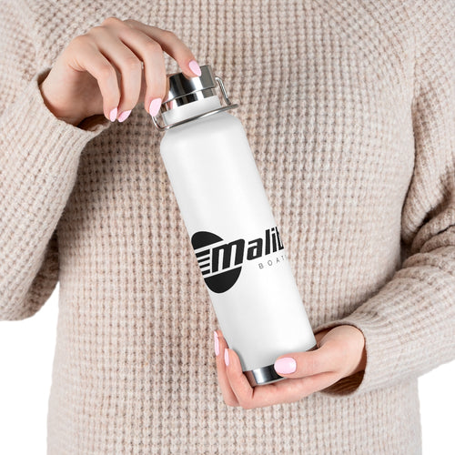 Vintage Malibu Boats in Black 22oz Vacuum Insulated Bottle