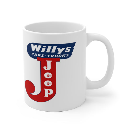 Willys Jeeps White Ceramic Mug by SpeedTiques