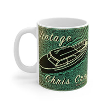 Vintage Chris Craft Express Cruiser White Ceramic Mug by Retro Boater