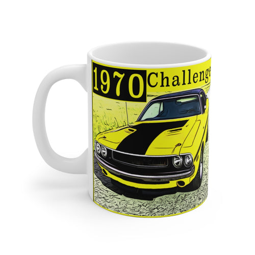 1970 Challenger White Ceramic Mug by SpeedTiques