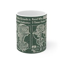 Wizard Outboards White Ceramic Mug by Retro Boater