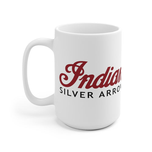 Indian Silver Arrow Outboard Motors White Ceramic Mug by Retro Boater