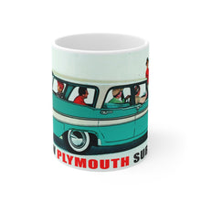 1957 Plymouth Suburban Advertisement White Ceramic Mug by SpeedTiques