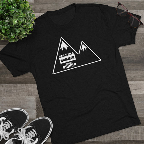 Classic Black and White Mountain Design Only in a Hummer Men's Tri-Blend Crew Tee