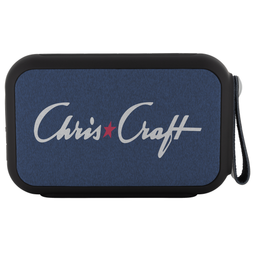 Vintage Chris Craft Logo in Distress Blue Bluetooth Speaker