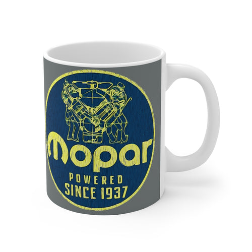 Vintage Mopar Plymouth Dodge Sign White Ceramic Mug by SpeedTiques