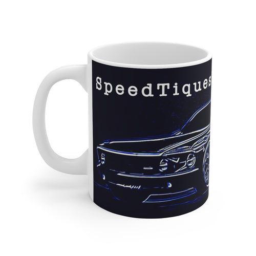 1969 Ford Mustang Pro Touring White Ceramic Mug by SpeedTiques