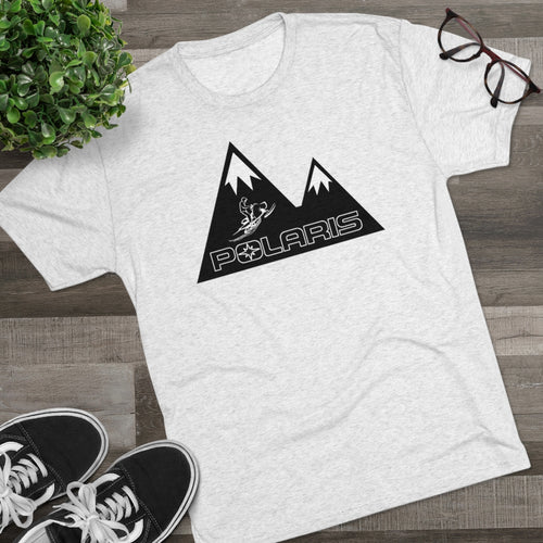 Classic Polaris Snowmobiles with Mountain Background Men's Tri-Blend Crew Tee
