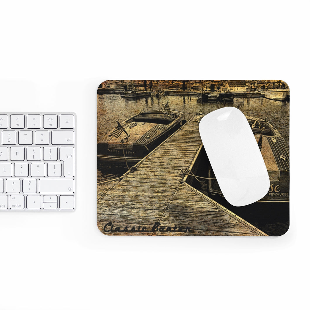 Vintage Chris Craft at the Boat Show by Classic Boater Mousepad