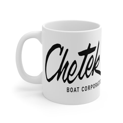 Chetek Boats White Ceramic Mug by Retro Boater
