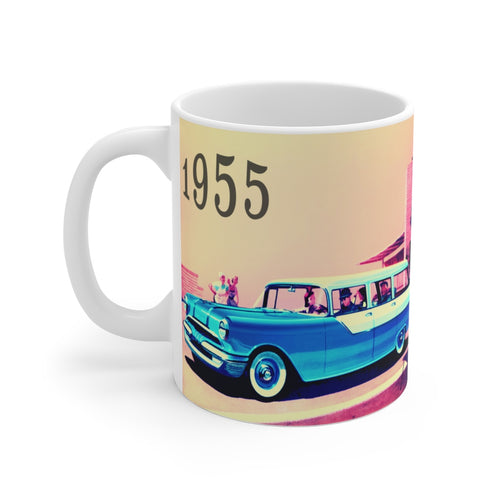 1955 Pontiac Station Wagon White Ceramic Mug