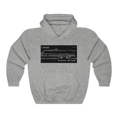1958 Chris Craft Silver Arrow Unisex Heavy Blend™ Hooded Sweatshirt by Retro Boater