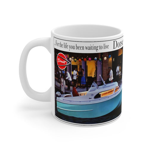 1961 Dorsett Twin Outboard Boat Advertisement White Ceramic Mug by Retro Boater
