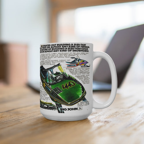 Vintage 1976 John Deere Snowmobile 440 White Ceramic Mug by SpeedTiques.com
