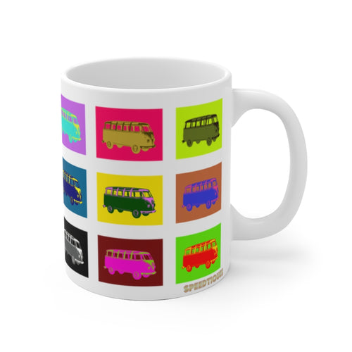Vintage Volkswagon VW Bus Pop Art White Ceramic Mug by SpeedTiques