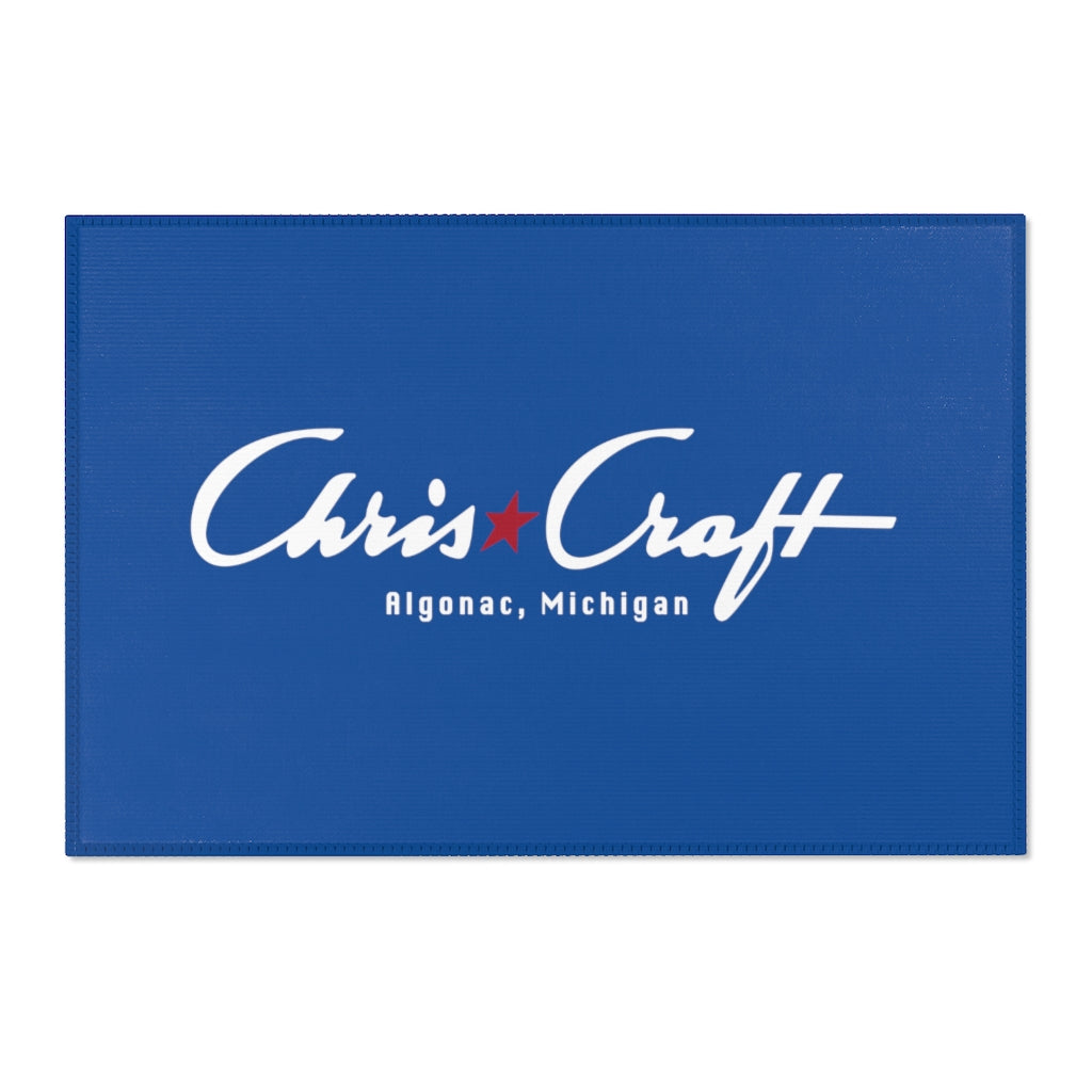 Blue Vintage Chris Craft Algonac, Michigan Dock Mat