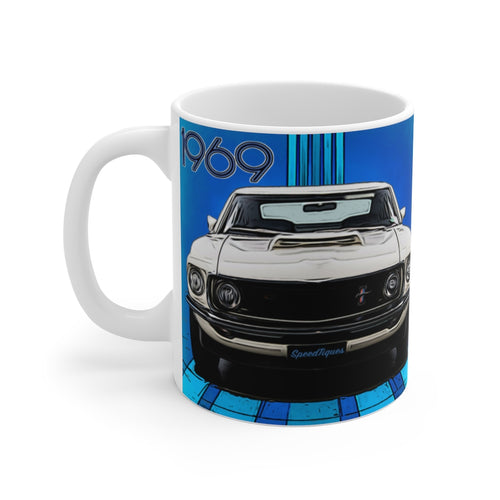 1969 Ford Boss 429 Mustang White Ceramic Mug by SpeedTiques