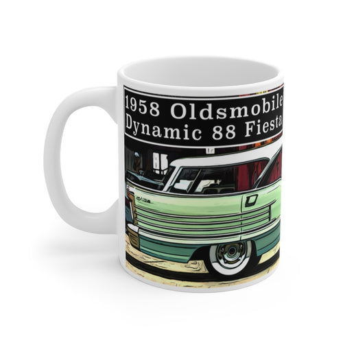 1958 Oldsmobile Dynamic 88 Fiesta Wagon White Ceramic Mug by SpeedTiques