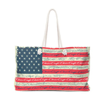 Vintage Distressed Chris Craft American Flag Weekender Bag