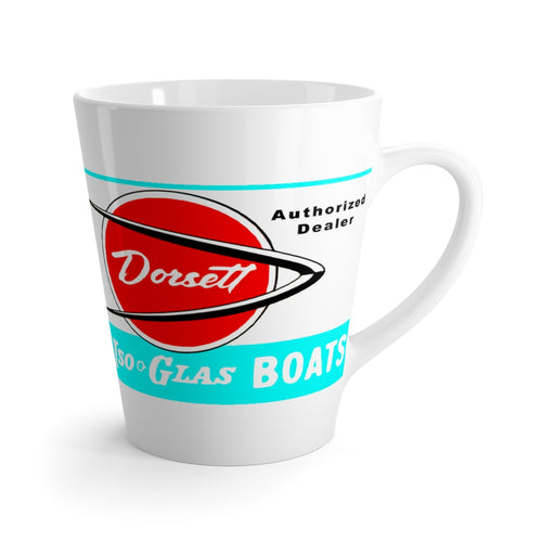 Dorsett Boat Dealer Sign Latte mug by Retro Boater