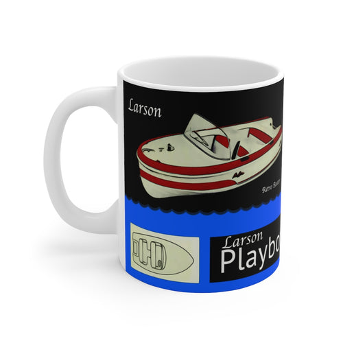 1958 Larson Playboy White Ceramic Mug by Retro Boater
