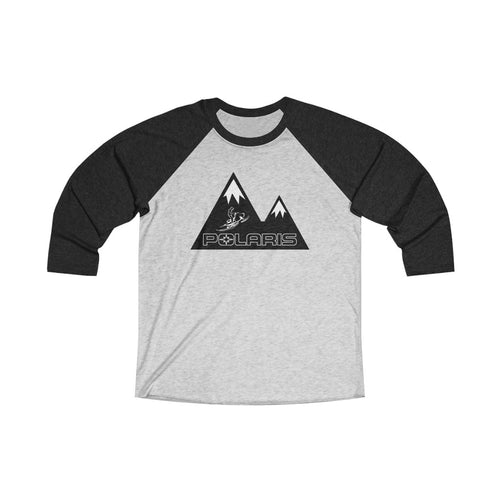 Classic Polaris Snowmobile with Mountain Design Background Unisex Tri-Blend 3/4 Raglan Tee