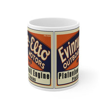 Plainview Small Engine Evinrude and Elto Outboard Motors White Ceramic Mug by Retro Boater