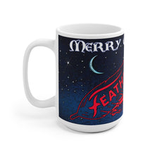 Merry Christmas Feathercraft White Ceramic Mug by Retro Boater