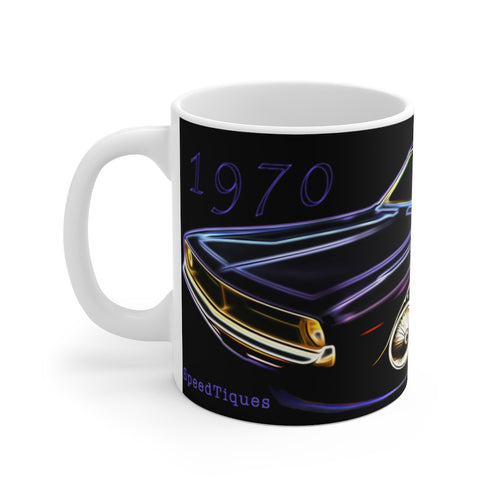 1970 Plymouth Barracuda White Ceramic Mug by SpeedTiques