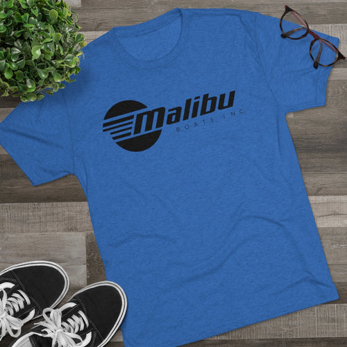 Vintage Design Malibu Boat Company in Black Men's Tri-Blend Crew Tee